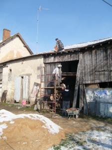 a set of derelict farm buildings - work begins, 2009